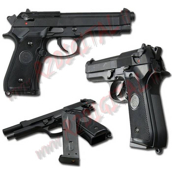 PISTOLA GREEN GAS BERETTA M9 KJW 9606B SCARRELLANTE HOP UP