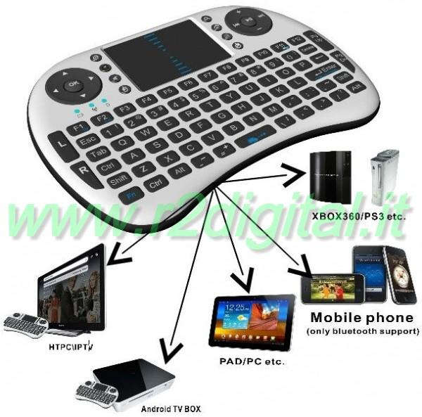MINI TASTIERA WIRELESS MEDIA CENTER TOUCHPAD PC PS3 XBOX ANDROID