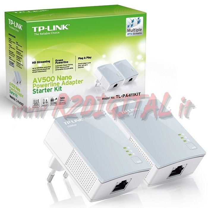 ADATTATORE TL-PA411 KIT POWERLINE RETE LAN ETHERNET 500Mbps