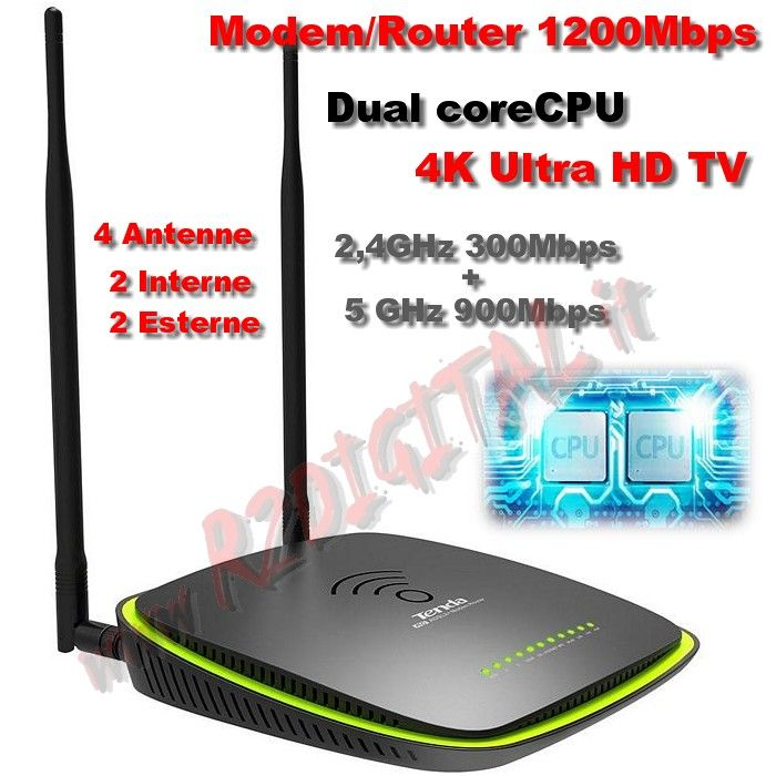 ROUTER TENDA D1201 WIRELESS N MODEM 1200Mbps LAN ADSL WIFI